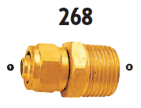 268-04-06 Adaptall Brass -04 Polytube Compression x -06 Male BSPT Adapter