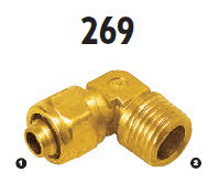 269-04-06 Adaptall Brass 90 deg. -04 Polytube Compression x -06 Male BSPT Elbow