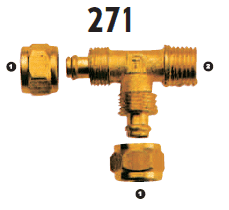 271-06-06 Adaptall Brass -06 Polytube Compression x -06 Male BSPT Run Tee