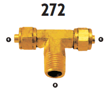 272-06-06 Adaptall Brass -06 Polytube Compression x -06 Male BSPT Branch Tee