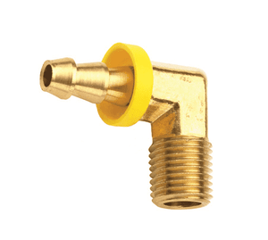 "273-0404 Dixon Brass 90 Deg. Push-On Hose Barb 1/4"" ID x 1/4""-18 Male NPTF Elbow - Forged"