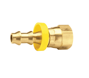 "287-0407 Dixon Brass Female 45 Deg. SAE / 37 Deg. JIC Swivel Push-on Hose Barb - Dual Angle Seat - 1/4"" Hose ID x 7/16""-20 UNF Thread"