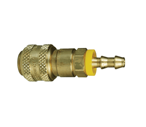 "2DB3-B Dixon Brass D-Series Quick Disconnect 1/4"" Automatic Industrial Interchange Pneumatic Coupler - Push-Loc Barb - 3/8"" Hose ID"
