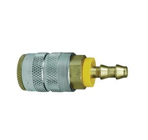 "2FB3-B Dixon Brass F-Series Quick Disconnect 1/4"" Manual Industrial Interchange Pneumatic Coupler - Push-Loc Barb - 3/8"" Hose ID"