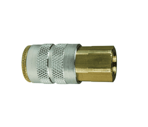 "2FF1-B Dixon Brass F-Series Quick Disconnect 1/4"" Manual Industrial Interchange Pneumatic Coupler - 1/8""-27 Female NPTF"