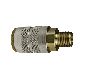 "2FM1-B Dixon Brass F-Series Quick Disconnect 1/4"" Manual Industrial Interchange Pneumatic Coupler - 1/8""-27 Male NPTF"
