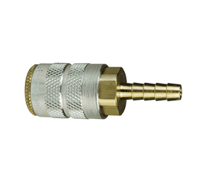 "2FS2.5-B Dixon Brass F-Series Quick Disconnect 1/4"" Manual Industrial Interchange Pneumatic Coupler - Standard Hose Barb - 5/16"" Hose ID"