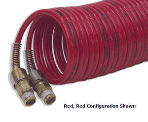 "2N6BS23-25 Nycoil Dual Bonded Nylon Self-Storing Air Hose Assembly - 3/8"" Hose ID - 3/8"" MPT Swivel - Red, Blue - 225 PSI - 25ft"