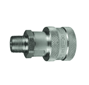 "3TM3 Dixon Steel T-Series Quick Disconnect 3/8"" High Pressure Ball Interchange Hydraulic Coupler - 3/8""-18 Male NPTF"