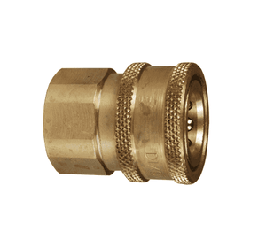 "10VF10-B-E Dixon Brass V-Series Quick Disconnect 1-1/4"" Snap-Tite H/IH Interchange Unvalved Hydraulic Coupler - 1-1/4""-11-1/2 Female NPTF"