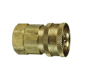 "10VF10-B Dixon Brass V-Series Quick Disconnect 1-1/4"" Snap-Tite H/IH Interchange Valved Hydraulic Coupler - 1-1/4""-11-1/2 Female NPTF"
