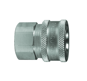 "4VF4-E Dixon Steel V-Series Quick Disconnect 1/2"" Snap-Tite H/IH Interchange Unvalved Hydraulic Coupler - 1/2""-14 Female NPTF"
