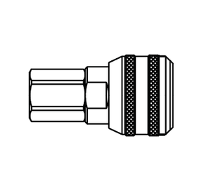 4400SL Eaton 4000 Series Female Socket - 1/2-14 Female NPTF End Connection Pneumatic Quick Disconnect Coupling with Sleeve Lock - Brass