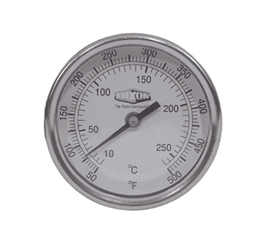 "30090064 Dixon Bi-Metal Thermometer - Model 30 - Back Connected 3"" Face - 0-250 deg. F/-20-120 deg. C Range - 9"" Stem Length"