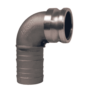 "400E-90AL Dixon 4"" 356T6 Aluminum Type E Cam and Groove 90 deg. Elbow - Male Adapter x Hose Shank"