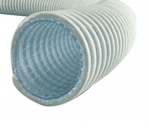 "3012-0400-100 Jason Industrial 3012 PVC FDA 3-A Liquid Suction Hose - S-omega - White/Clear - 80 PSI - 4"" ID - 4.78"" OD - 100ft"