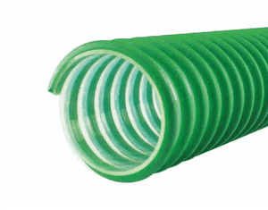 "3021-0150-100 Jason Industrial 3021 Polyurethane Material Handling and Duct Hose - Green/Clear - 20 PSI - 1-1/2"" ID - 1.82"" OD - 100ft"