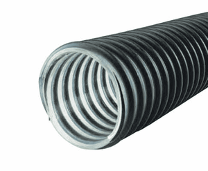 "3022-0150-100 Jason Industrial 3022 Medium Duty Polyurethane Lined Material Handling Hose - Black/Clear - 30 PSI - 1-1/2"" ID - 1.91"" OD - 100ft"