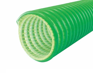 "3040-0400-100 Jason Industrial 3040 Polyurethane Drop Hose for Suction & Delivery Of Gasoline, Alternative Fuels - S-omega - Green/Clear - 65 PSI - 4"" ID - 4.83"" OD - 100ft"