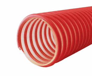 "3053-0300-100 Jason Industrial 3053 HD Polyurethane Gasoline & Alternative Fuel Vapor Recovery Hose - S-omega - Red/Clear - 8 PSI - 3"" ID - 3.57"" OD - 100ft"