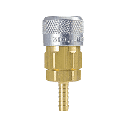 "310-4904 ZSi-Foster Quick Disconnect 310 Series 3/8"" Automatic Socket - 1/2"" ID - Hose Stem - Brass/Steel"