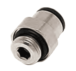 31010410 Dixon Nickel-Plated Brass Metric Push-In Fitting - Male Connector - 4mm Tube OD x 1/8 BSPP Thread (Pack of 10)