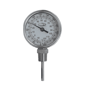 "31040104 Dixon Bi-Metal Thermometer - Model 31 - Bottom Connected 90 deg. Angle 3"" Face - 50-500 deg. F/10-260 deg. C Range - 4"" Stem Length"