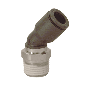 "31135614 Legris Nylon/Nickel-Plated Brass Push-In Fitting - 45 deg. Male Elbow - 1/4"" Tube OD x 1/4"" Male NPT (Pack of 10)"