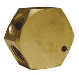 "3132 Dixon Brass Flat Hex Manifold - One 3/8"" NPT Inlet - Three 1/4"" NPT Outlets"