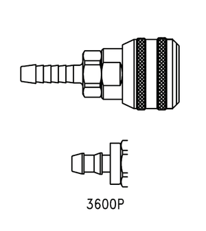 3600P Eaton 3000 Series Female Socket 1/4 Hose Stem End Connection Pneumatic Quick Disconnect Coupling for use with Push-on Style Hose - Buna-N Seal - Brass
