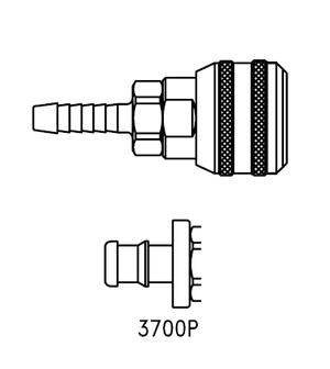 3700P Eaton 3000 Series Female Socket 3/8 Hose Stem End Connection Pneumatic Quick Disconnect Coupling for use with Push-on Style Hose - Buna-N Seal - Brass