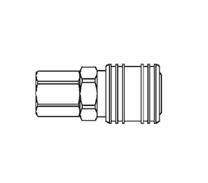 400 Eaton 400 Series Female Socket 1/4-18 Female NPTF Pneumatic Quick Disconnect Coupling - Brass