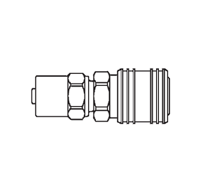 50SR23 Eaton 500 Series Female Socket - 3/4 ID - 1 1/8 OD - Hose Clamp End Connection Pneumatic Quick Disconnect Coupling - Brass