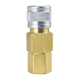 "4015 ZSi-Foster 1-Way Quick Disconnect Socket - 1/4"" FPT - Brass/Steel"