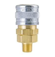 "BL4504 ZSi-Foster Quick Disconnect 1-Way Manual Socket - 1/2"" MPT - Male Thread - Ball Lock, Brass/Steel"
