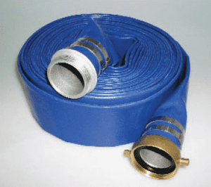 "4502-3000-050AB Jason Industrial 4502 Blue PVC Water Discharge Hose Assembly - 70 PSI - 3"" ID - 3"" AB Pin Lug (M x F) - 50ft"