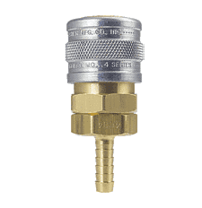 "4604 ZSi-Foster Quick Disconnect 1-Way Manual Socket - 1/4"" ID - Hose Stem - Brass/Steel"