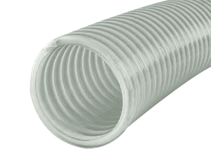"4615-1000 Jason Industrial 4615 Clear/White Helix PVC Water Suction Hose - 100 PSI - 1"" ID - 1.22"" OD - 100ft"