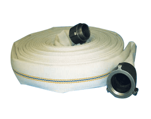 "4735-0150-050ERNPS Jason Industrial 4735 MSHA Fire Hose Assembly - White - 300 PSI Serv. Press. - 1-1/2"" ID - NPS EXP Ring - 50ft"