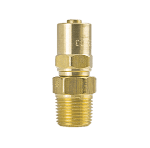 "4D9 ZSi-Foster Reusable Hose Fitting - Non Swivel Adapter - 3/8"" ID x 11/16"" OD - 3/8"" MPT - Brass"