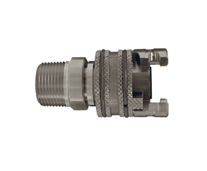 "4PM6-S Dixon 303 Stainless Steel P-Series Quick Disconnect 1/2"" Thor Interchange Pneumatic Coupler - 3/4""-14 Male NPTF"