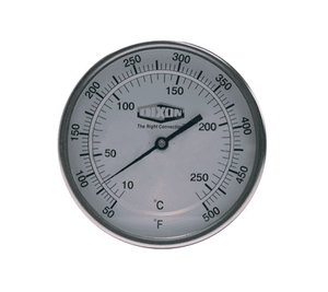 "50025104 Dixon Bi-Metal Thermometer - Model 50 - Back Connected 5"" Face - 50-500 deg. F/10-260 deg. C Range - 2-1/2"" Stem Length"