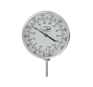 "52025064 Dixon Bi-Metal Thermometer - Model 52 - Adjustable Angle 5"" Face - 0-250 deg. F/-20-120 deg. C Range - 2-1/2"" Stem Length"
