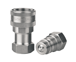 FD56-1001-08-10 Eaton 5600 Series ISO 7241-1 A Interchange Complete Set Female NPTF Quick Disconnect Couplings Standard Buna-N Seal - 303 Stainless Steel