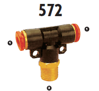 572-06-06 Adaptall Brass -06 Polytube Push to Connect x -06 Male BSPT Branch Tee