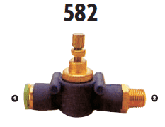 582-05-04 Adaptall Carbon Steel -05 Straight Polytube Push to Connect Flow Control Valve x -04 Male BSPT Adapter
