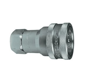 "6KF6 Dixon Steel K-Series Quick Disconnect 3/4"" ISO-A Interchange Hydraulic Coupler - 3/4""-14 Female NPTF"