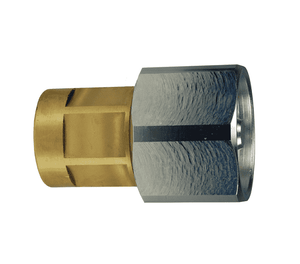 "6WF4-B-HN Dixon Brass W-Series Quick Disconnect 3/4"" Wingstyle Interchange Hex-Nut Hydraulic Coupler - 1/2""-14 Female NPTF"