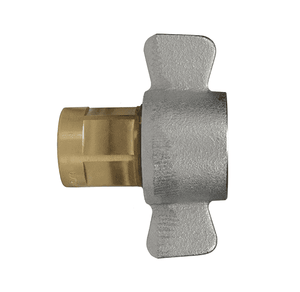 "6WF4-B Dixon Brass W-Series Quick Disconnect 3/4"" Wingstyle Interchange Hydraulic Coupler - 1/2""-14 Female NPTF"