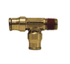 "7112x8 Dixon Forged Brass Push-In Fitting - Male Run Tee - 3/8"" Tube OD x 1/4"" Male NPTF"